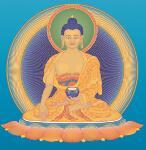 Moderner Buddhismus - Buddha Shakyamuni auf blau